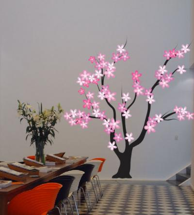 Adesivo - Arvore flores color